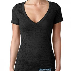Carolina Country Ladies Deep V Burnout T-Shirt – Black