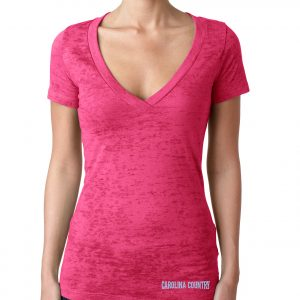 Carolina Country Ladies Deep V Burnout T-Shirt – Pink