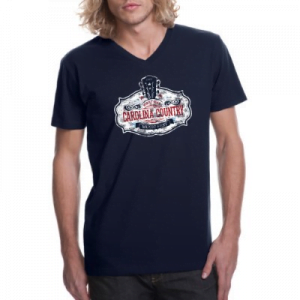 CCMF Distressed V-Neck Tee – Navy