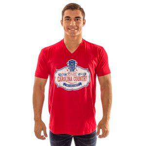 CCMF Distressed V-Neck Tee – Red