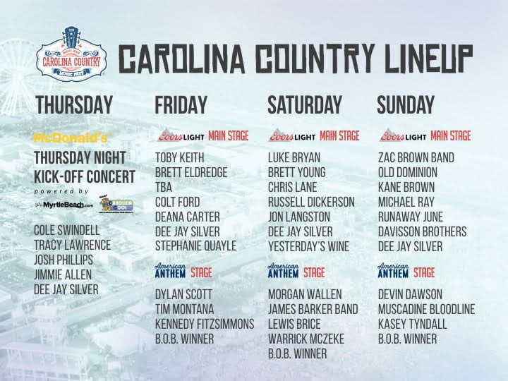 Announcing the Carolina Country Music Fest 2018 Lineup!