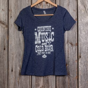 COUNTRY MUSIC & COLD BEER LADIES T-SHIRT