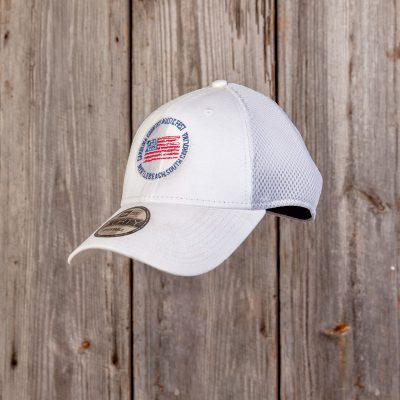 CCMF DISTRESSED FLAG BADGE HAT – White