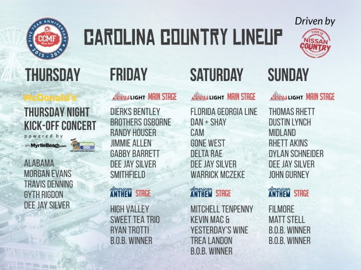 Carolina Country Music Fest Releases Full Lineup Driven By Nissan Grand Strand Carolina Country Music Fest