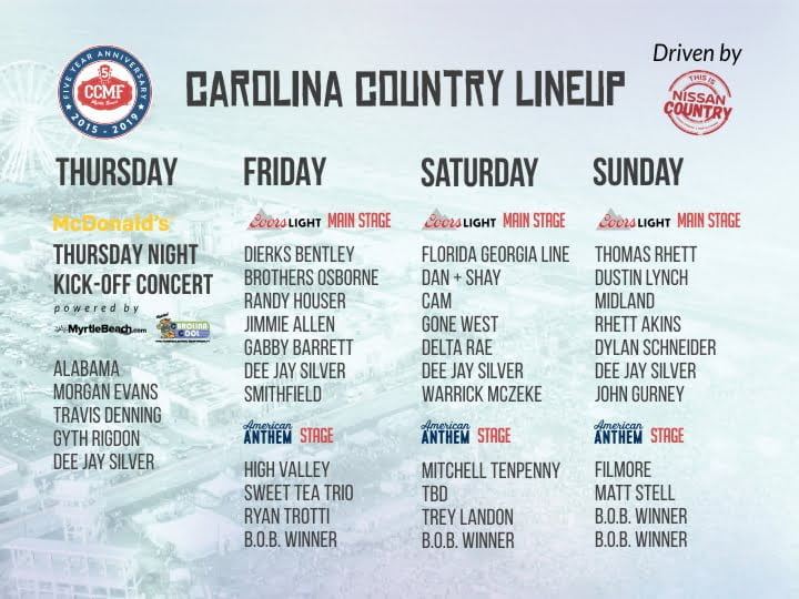 Carolina Country Music Fest Releases Full Lineup driven by Nissan Grand Strand