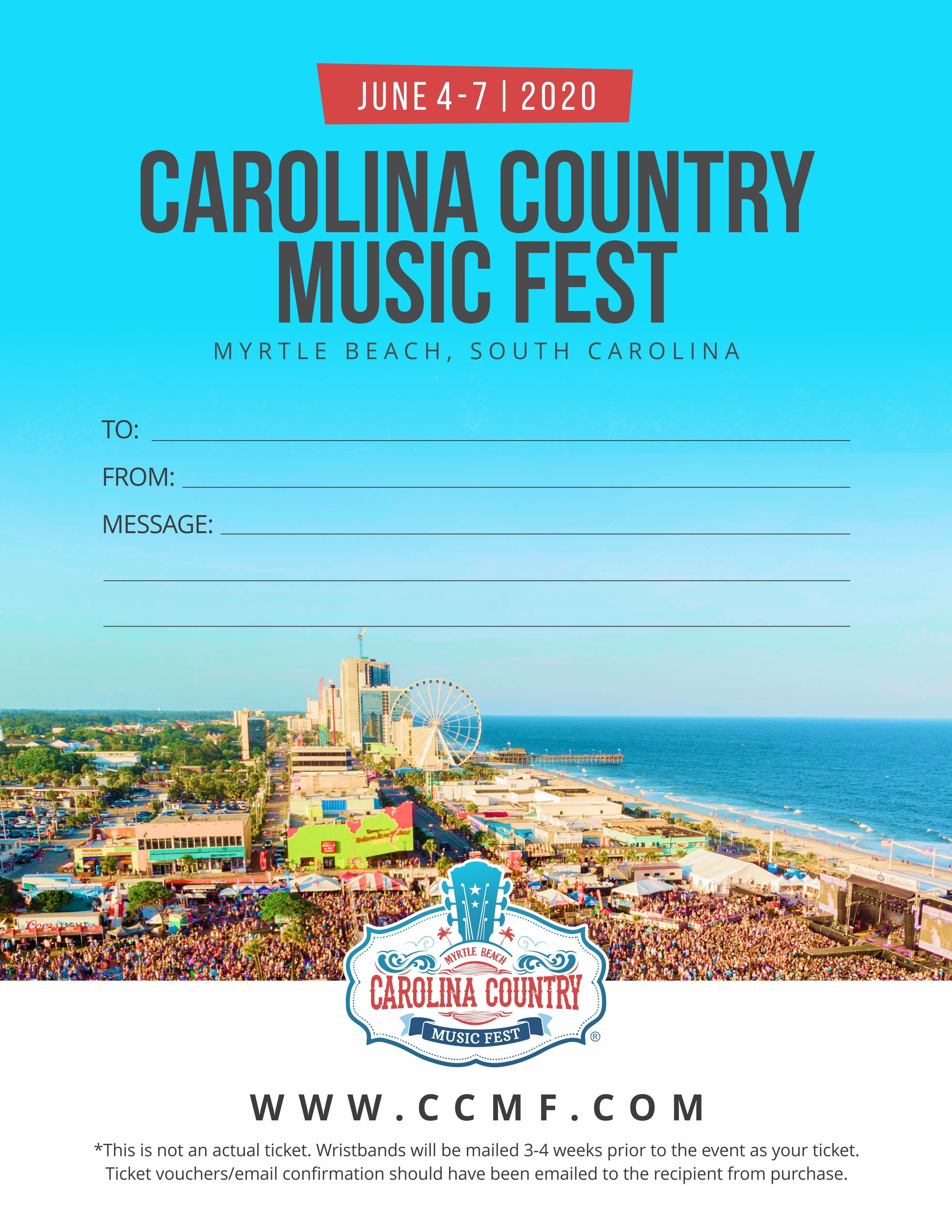 Myrtle Beach Country Music Festival 2020.Your Official Ccmf Gift Voucher Carolina Country Music Fest